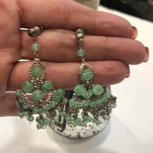 Vintage green beaded and silver earrings #G10